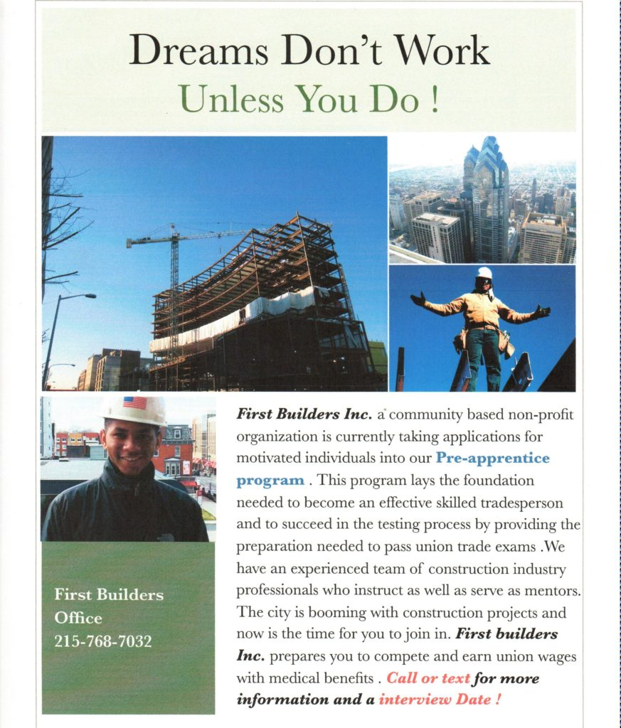 First Builders Pre-Apprentice Program Booklet